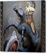 24x36 Neptune Battles The Great Whites Canvas Print