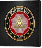 26th Degree - Prince Of Mercy Or Scottish Trinitarian Jewel On Black Leather Canvas Print