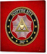26th Degree - Prince Of Mercy Or Scottish Trinitarian Jewel On Red Leather Canvas Print