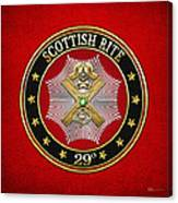 29th Degree - Scottish Knight Of Saint Andrew Jewel On Red Leather Canvas Print