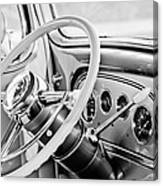 1933 Pontiac Steering Wheel -0463bw Canvas Print