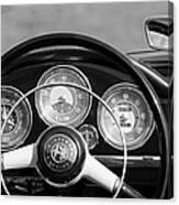 1961 Alfa Romeo Giulietta Spider Steering Wheel Emblem -1185bw Canvas Print