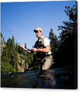 A Fly-fisherman In The Truckee River Canvas Print