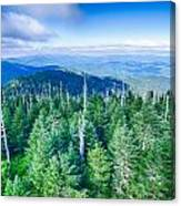 A Wide View Of The Great Smoky Mountains From The Top Of Clingma Canvas Print