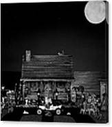 B/w Log Cabin And Outhouse Scene With The Classic Old Vintage 1908 Model T Ford Canvas Print