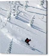 Backcountry Ski Traverse In Glacier Canvas Print