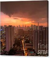 Bangkok City Skyline At Sunset Canvas Print