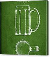 Beer Mug Patent From 1876 - Green Canvas Print