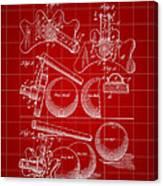 Billiard Bridge Patent 1910 - Red Canvas Print