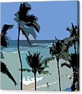 Blue Beach Umbrellas Canvas Print