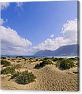 Caleta De Famara Beach On Lanzarote Canvas Print