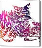 3 Cats Purple Canvas Print