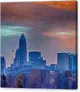 Charlotte The Queen City Skyline At Sunrise Canvas Print