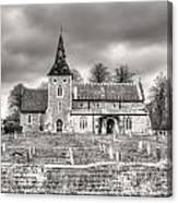 Church And Graveyard At Dusk Canvas Print