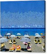 Beach At The City Of Rhodes Canvas Print
