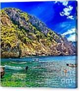 Cliffside Coastline On Corfu Canvas Print