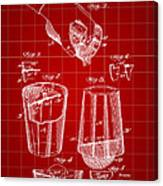 Cocktail Mixer And Strainer Patent 1902 - Red Canvas Print