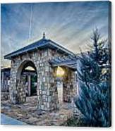 Cultured Stone Terrace Trellis Details Near Park In A City  Canvas Print