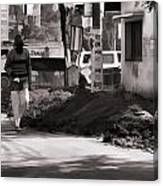 Digging A Ditch At The Side Of A Road In Roorkee Canvas Print