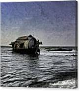 Digital Oil Painting - A Houseboat Moving Placidly Through A Coastal Lagoon In Alleppey Canvas Print
