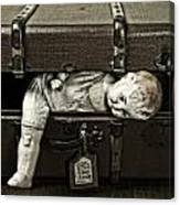 Doll In Suitcase Canvas Print