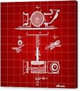 Edison Phonograph Patent 1878 - Red Canvas Print