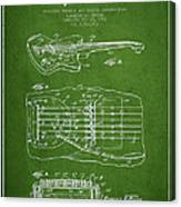 Fender Floating Tremolo Patent Drawing From 1961 - Green Canvas Print