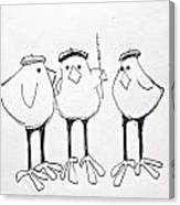 3 French Hens Drawing Canvas Print