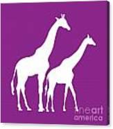 Giraffe In Purple And White Canvas Print