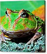 Green Fantasy Frogpacman Frog Canvas Print
