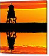Groyne Lighthouse At Sunrise Canvas Print