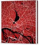 Hamburg Street Map - Hamburg Germany Road Map Art On Colored Bac Canvas Print