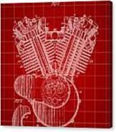 Harley Davidson Engine Patent 1919 - Red Canvas Print