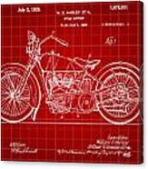 Harley Davidson Motorcycle Patent 1925 - Red Canvas Print
