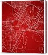 Kabul Street Map - Kabul Afghanistan Road Map Art On Colored Bac Canvas Print
