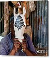 Kenya. December 10th. A Man Carving Figures In Wood. Canvas Print