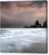 Landscape Seascape Of Jagged And Rugged Rocks On Coastline With  Canvas Print