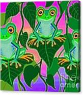 3 Little Frogs On Leafs Canvas Print