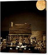 Log Cabin Scene With Outhouse And The Old Vintage Classic 1908 Model T Ford In Sepia Color Canvas Print