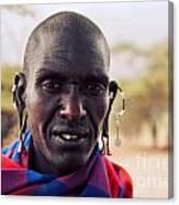 Maasai Man Portrait In Tanzania Canvas Print
