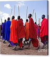 Maasai Men In Their Ritual Dance In Their Village In Tanzania Canvas Print