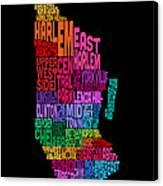 Manhattan New York Typography Text Map Canvas Print