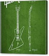 Mccarty Gibson Electrical Guitar Patent Drawing From 1958 - Green Canvas Print