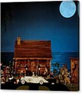 Miniature Log Cabin Scene With The Classic 1936 Mercedes Benz Special Roadster In Color Canvas Print