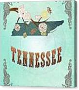 Modern Vintage Tennessee State Map  Canvas Print
