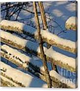 Old Swedish Wooden Fence In Winter Canvas Print
