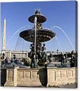 Public Fountain At The Place De La Concorde In Paris France Canvas Print