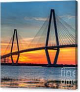 Ravenel Bridge Twilight Twinkle Canvas Print