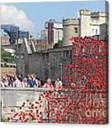 Remembrance Poppies At Tower Of London Canvas Print