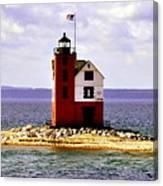 Round Island Lighthouse Straits Of Mackinac Michigan Canvas Print